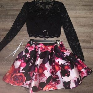 Semi-formal floral two piece dress